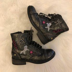 Justice Bronze Unicorn Combat Boots 4 NWOT